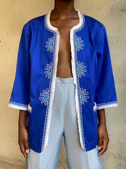 Bob Mackie Royal Blue Embroidered Jacket