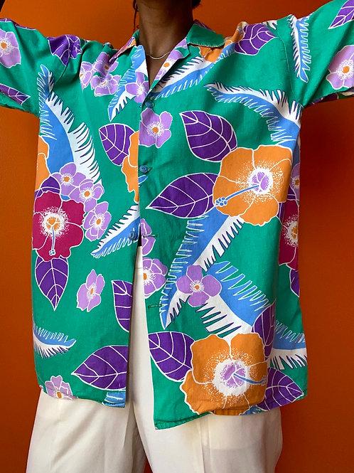 Teal Floral Hawaiian Shirt
