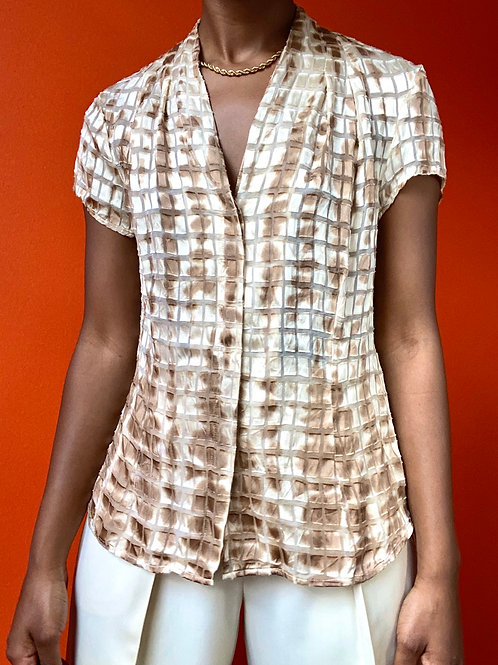 Semi Sheer Cupe Print Blouse