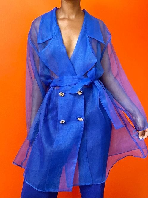Royal Blue Sheer Wrap Jacket