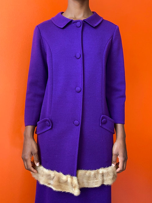 Purple Wool Sweater Skirt Set w/ Autumn Haze Mink