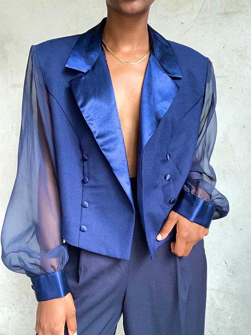 Royal Blue Sheer Sleeve Cropped Jacket