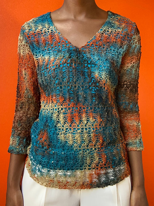 Crochet Gradient V Veck Top