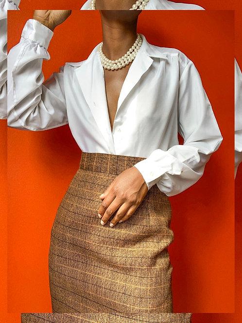 Brown Plaid Pencil Skirt