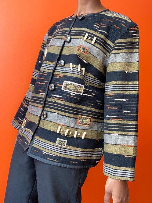 Beaded Abstract Print Jacket
