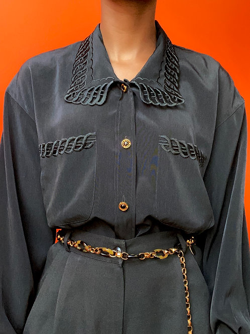 Black Embroidered Collar Blouse