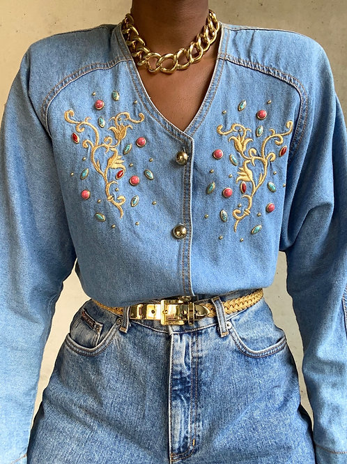Denim Gold Stone Embroidered Top