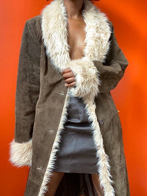 Brown Suede Leather Faux Fur Lined Coat