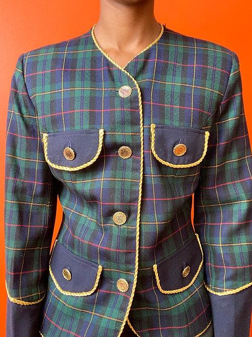 Green Gold Button Plaid Blazer