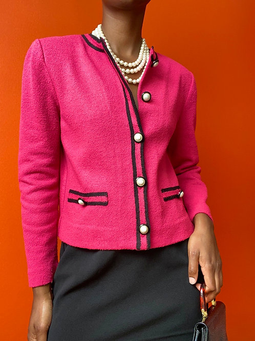 Pink Pearl Button Cardigan