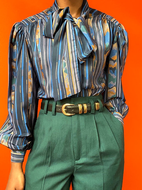 Blue Multicolored Polyester Tie Neck Blouse