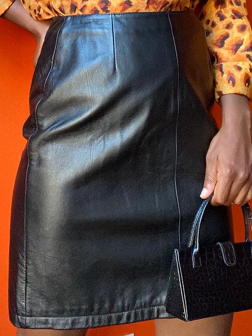High Waisted Black Leather Skirt