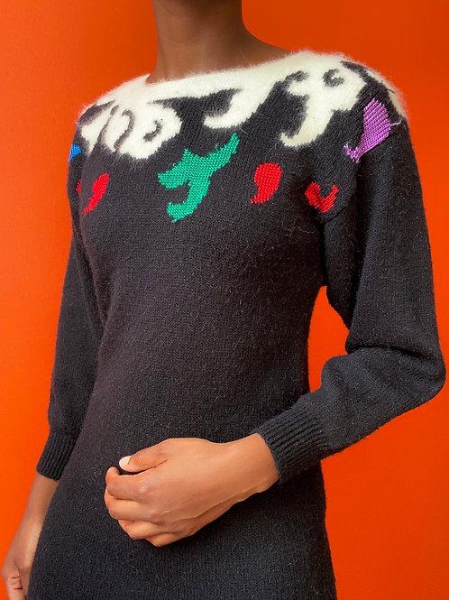 Black Holiday Sweater Dress