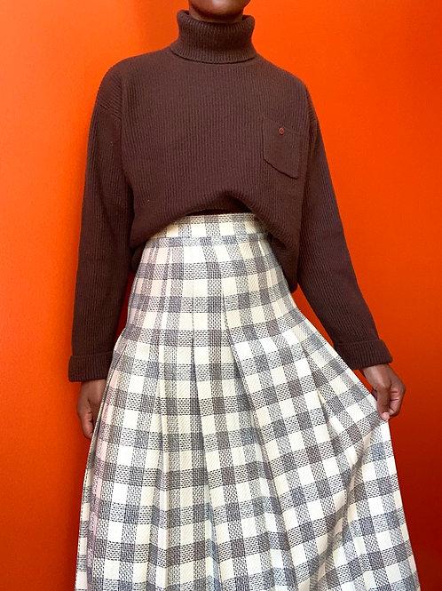 Plaid Pleated Wool Skirt