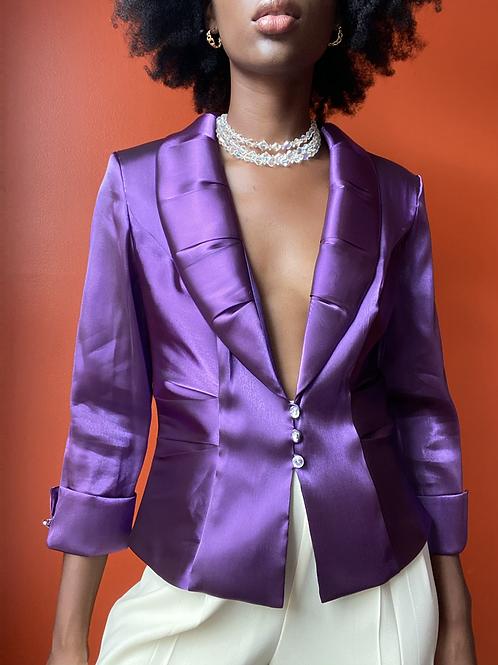 Purple Jewel Button Blouse