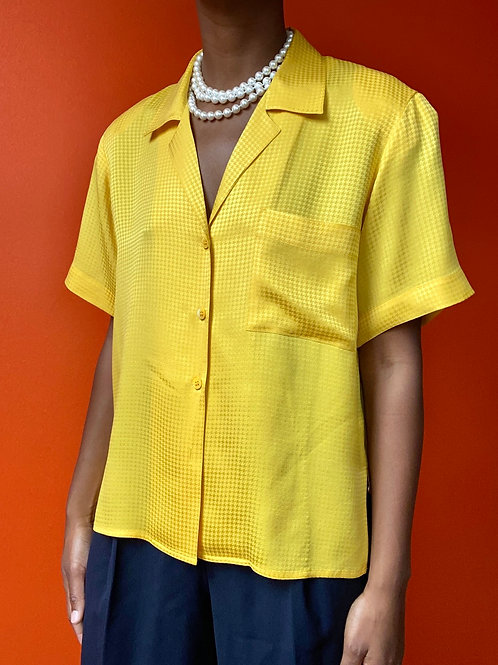 Yellow Silk Houndstooth Print  Blouse