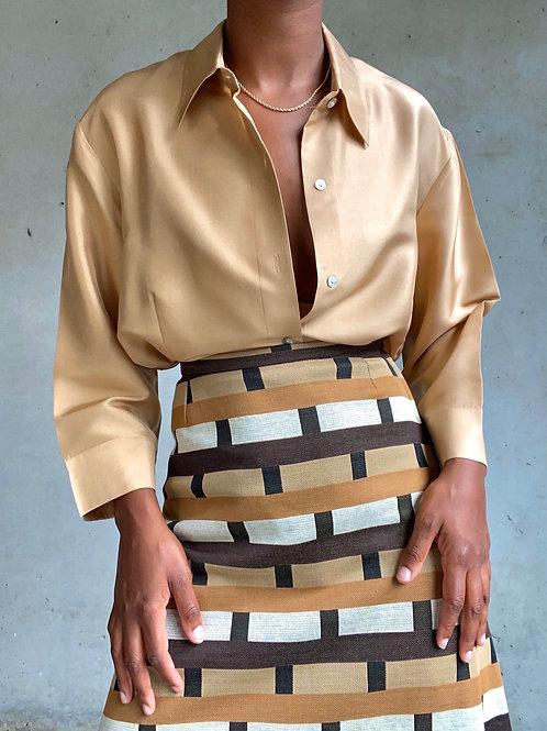 Brown Rectangle Print Skirt