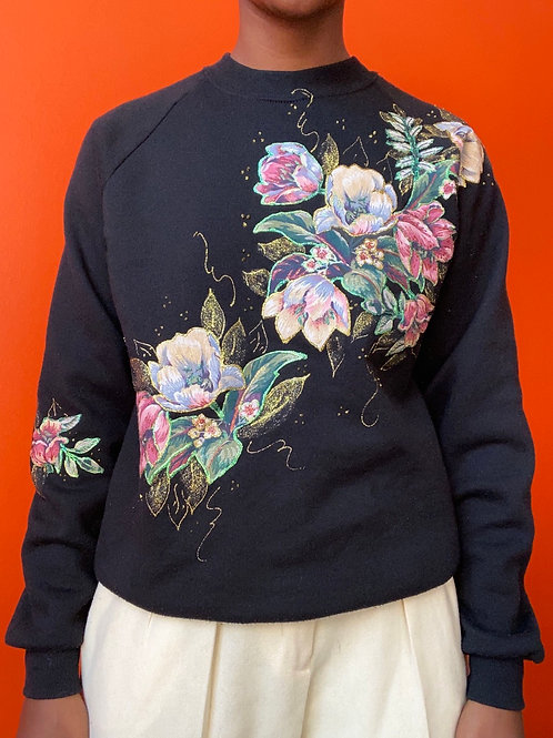 80s Floral Glitter Puff Paint Sweater