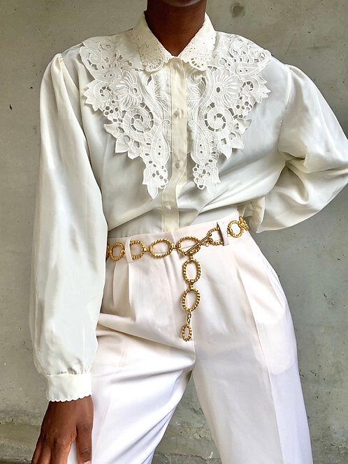 Ivory Lace Collar Blouse
