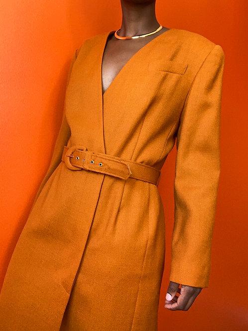 Orange Belted Wool Dress