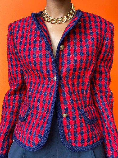 Blue & Red Houndstooth  Blazer