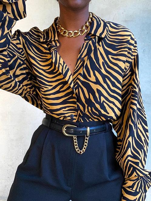 Zebra Print Silk Top