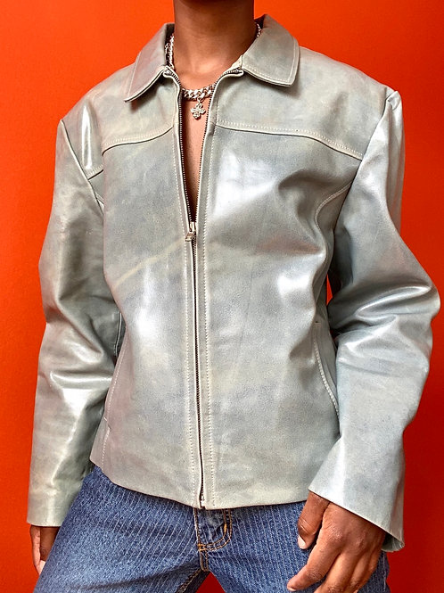 CadetBlue Vintage Leather Jacket