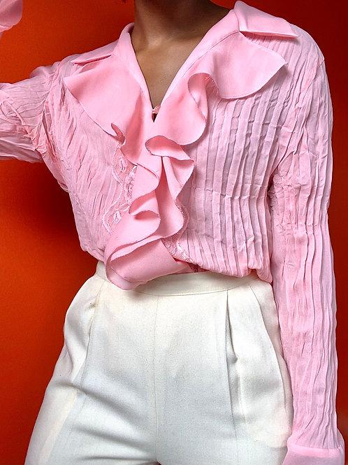 Pink Ruffle & Lace Blouse