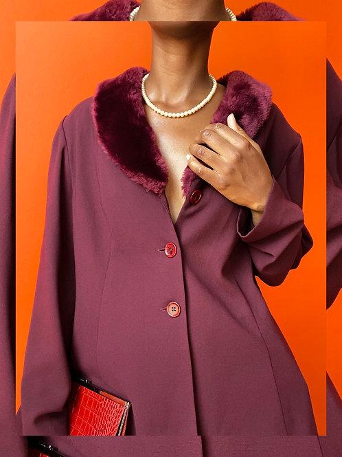 Burgandy Fur Collar Jacket