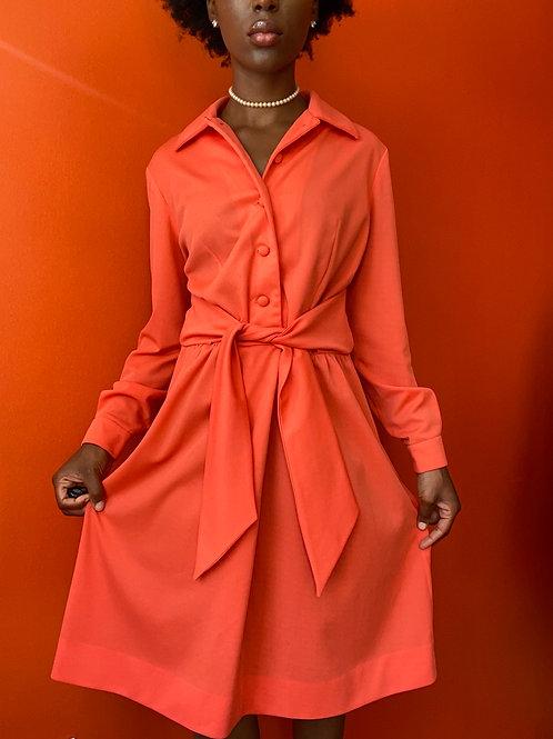 Orange Polyester Dress