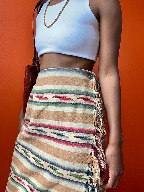 Aztec Print Wrap Skirt