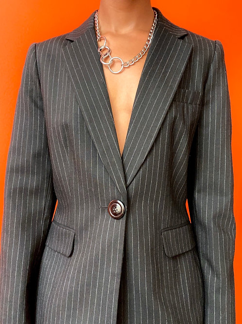 Black Pinstriped Suit