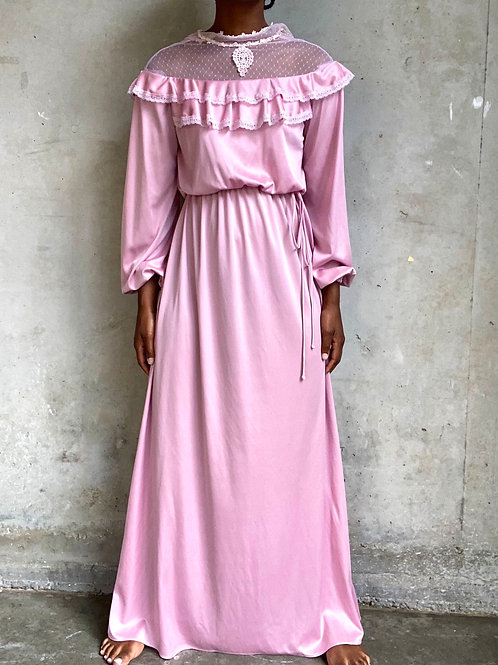 Mid 70s Pink High Collar Lace Prairie Dress