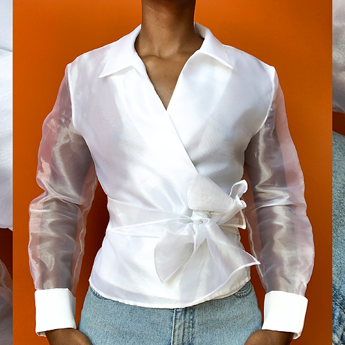 White Sheer Wrap Blouse