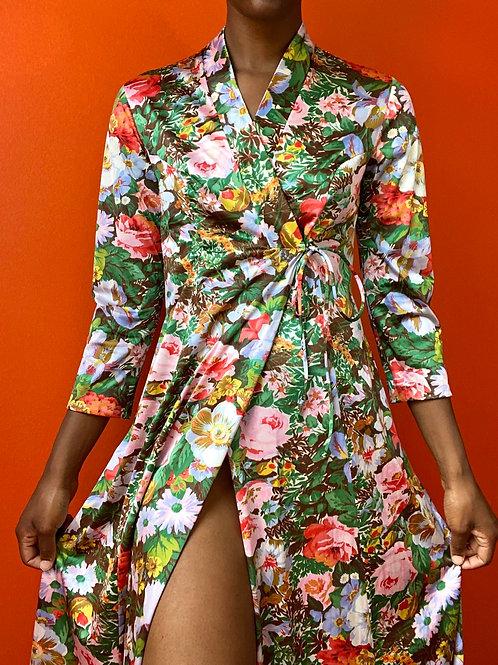 Floral Vanity Fair Satin Robe