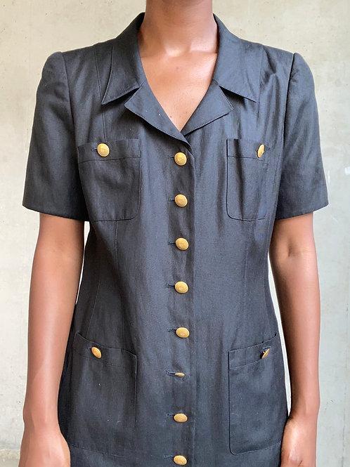 Black Gold Button Linen Dress