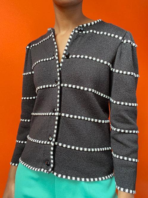 B&W Acrylic Rope Check Cardigan