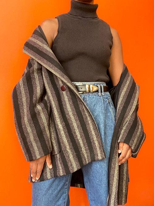 Wool Striped Blazer Coat