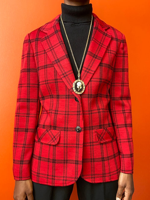 Red & Black Plaid Blazer