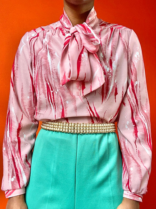 Pink Tie Neck Poly Blouse