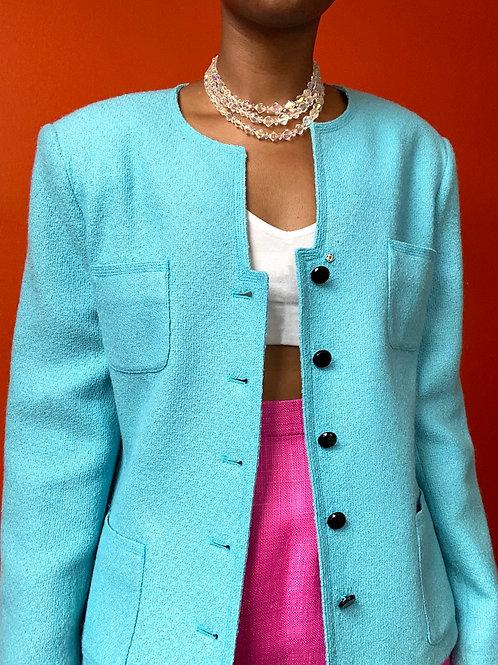 Sky Blue Four Pocket Wool Jacket