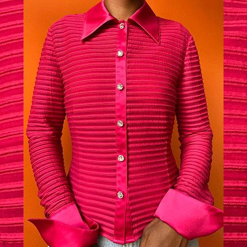 Pink Gem Button Blouse