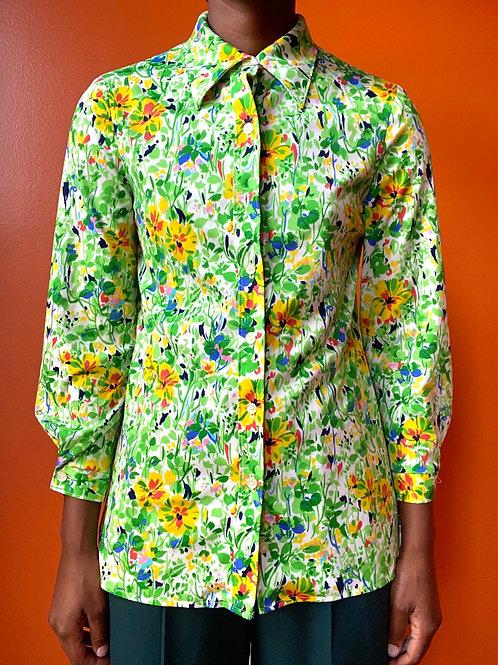 70s Floral Print Button Down