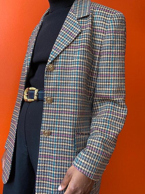 Gun Club Check Woven Silk Tweed Blazer