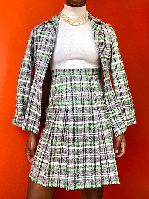 Plaid Blazer & Skirt Set