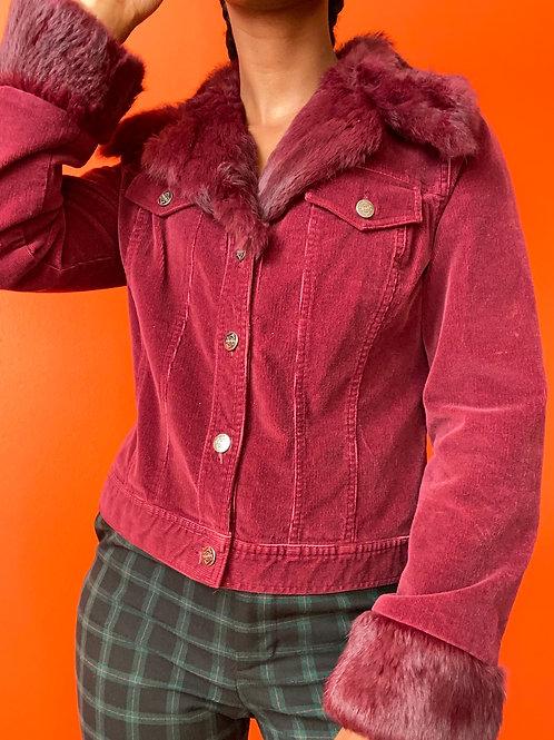 Burgundy Fur Lined Corduroy Jacket