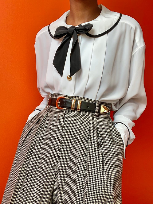 Bow tie Gold Button Blouse