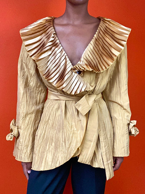 Gold Taffeta Pleated Blouse