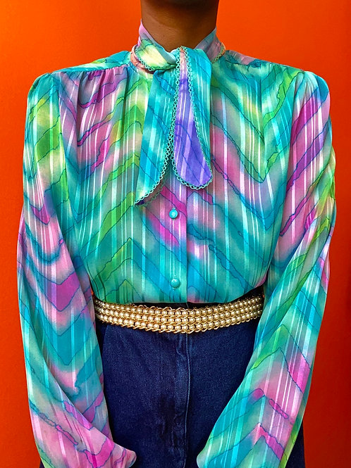 Watercolor Necktie Blouse