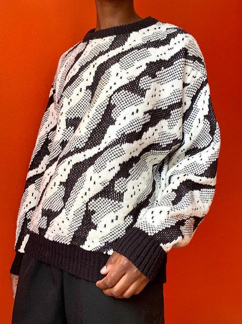 B&W Abstract Print Sweater